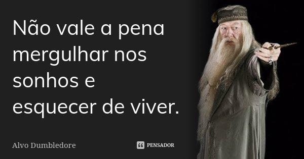 Não vale a pena mergulhar nos sonhos e esquecer de viver.... Frase de Alvo Dumbledore.