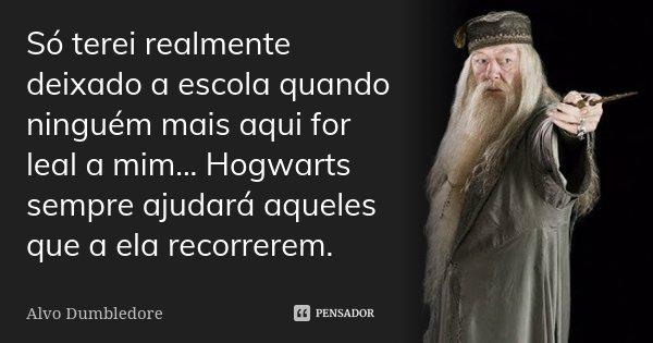 Só terei realmente deixado a escola quando ninguém mais aqui for leal a mim... Hogwarts sempre ajudará aqueles que a ela recorrerem.... Frase de Alvo Dumbledore.