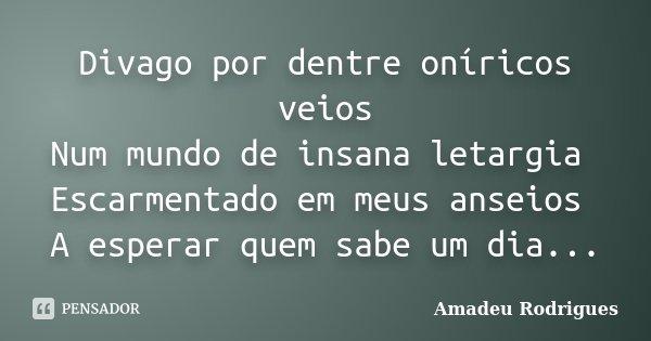 Divago por dentre oníricos veios Num mundo de insana letargia Escarmentado em meus anseios A esperar quem sabe um dia...... Frase de Amadeu Rodrigues.