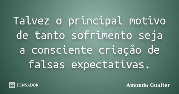 Talvez o principal motivo de tanto sofrimento seja a consciente criação de falsas expectativas.... Frase de Amanda Gualter.