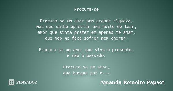 Procura Se Procura Se Um Amor Sem Grande Amanda Romeiro Papaet