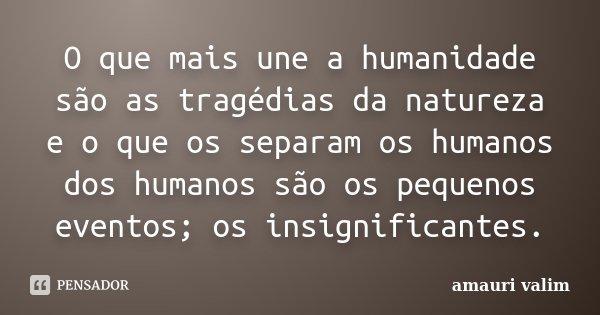 O que mais une a humanidade são as tragédias da natureza e o que os separam os humanos dos humanos são os pequenos eventos; os insignificantes.... Frase de amauri valim.