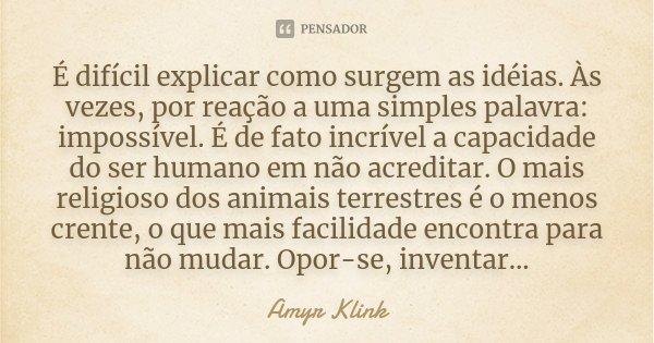 É difícil explicar como surgem as idéias. Às vezes, por reação a uma simples palavra: impossível. É de fato incrível a capacidade do ser humano em não acreditar... Frase de Amyr Klink.