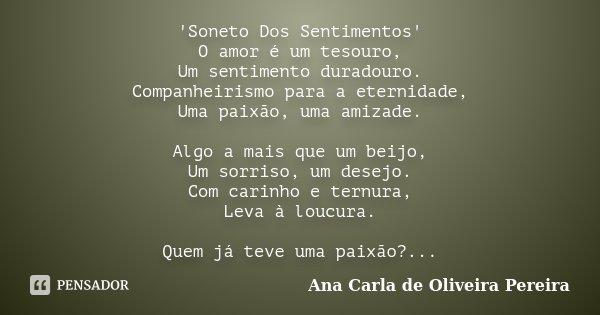 'Soneto Dos Sentimentos' O amor é um tesouro, Um sentimento duradouro. Companheirismo para a eternidade, Uma paixão, uma amizade. Algo a mais que um beijo, Um s... Frase de Ana Carla de Oliveira Pereira.
