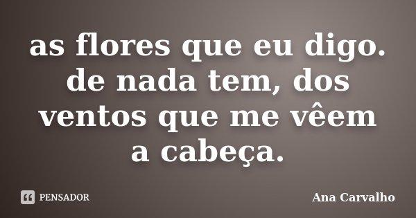 as flores que eu digo. de nada tem, dos ventos que me vêem a cabeça.... Frase de Ana Carvalho.