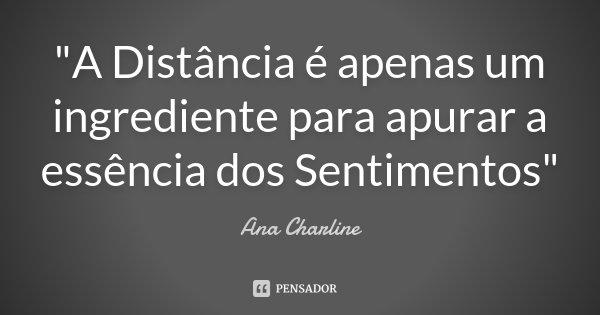 """""""A Distância é apenas um ingrediente para apurar a essência dos Sentimentos""""... Frase de Ana Charline."""