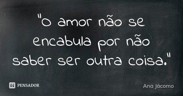 """""""O amor não se encabula por não saber ser outra coisa.""""... Frase de Ana Jácomo."""