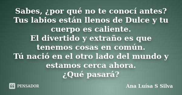 Sabes Por Qué No Te Conocí Antes Ana Luísa S Silva