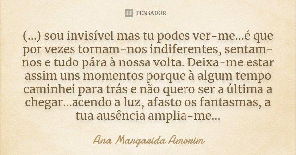 (...) sou invisível mas tu podes ver-me...é que por vezes tornam-nos indiferentes, sentam-nos e tudo pára à nossa volta. Deixa-me estar assim uns momentos porqu... Frase de Ana Margarida Amorim.