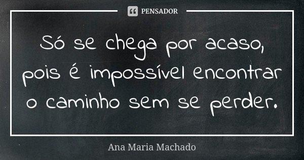 Só se chega por acaso, pois é impossível encontrar o caminho sem se perder.... Frase de Ana Maria Machado.