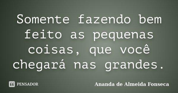 Somente fazendo bem feito as pequenas coisas, que você chegará nas grandes.... Frase de Ananda de Almeida Fonseca.