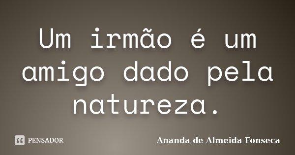 Um irmão é um amigo dado pela natureza.... Frase de Ananda de Almeida Fonseca.