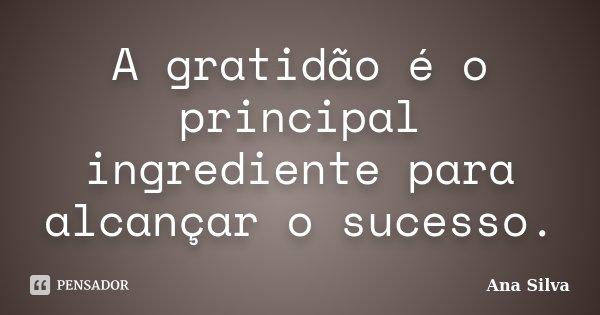 A gratidão é o principal ingrediente para alcançar o sucesso.... Frase de Ana Silva.