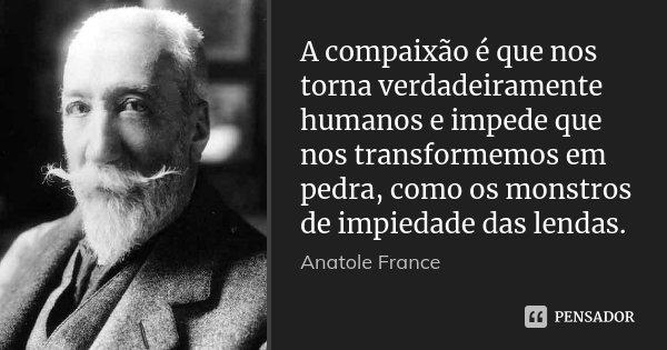 A compaixão é que nos torna verdadeiramente humanos e impede que nos transformemos em pedra, como os monstros de impiedade das lendas.... Frase de Anatole France.