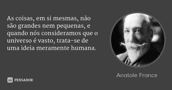 As coisas, em si mesmas, não são grandes nem pequenas, e quando nós consideramos que o universo é vasto, trata-se de uma ideia meramente humana.... Frase de Anatole France.