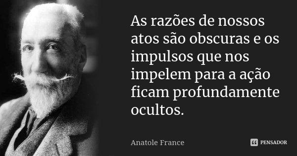 As razões de nossos atos são obscuras e os impulsos que nos impelem para a ação ficam profundamente ocultos.... Frase de Anatole France.