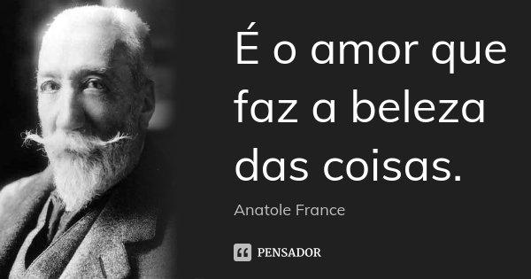 É o amor que faz a beleza das coisas.... Frase de Anatole France.