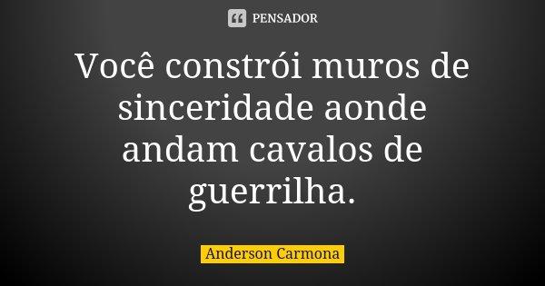 Você constrói muros de sinceridade aonde andam cavalos de guerrilha.... Frase de Anderson Carmona.