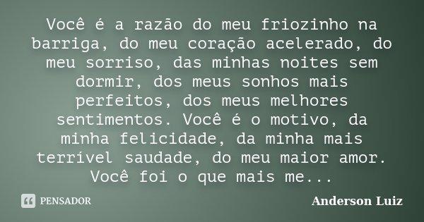Você é a razão do meu friozinho na barriga, do meu coração acelerado, do meu sorriso, das minhas noites sem dormir, dos meus sonhos mais perfeitos, dos meus mel... Frase de Anderson Luiz.