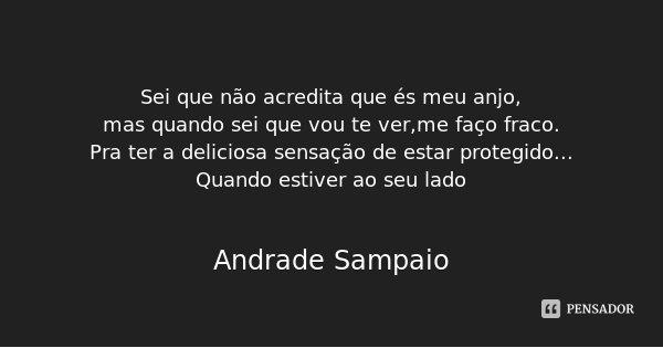 Sei que não acredita que és meu anjo, mas quando sei que vou te ver,me faço fraco. Pra ter a deliciosa sensação de estar protegido... Quando estiver ao seu lado... Frase de Andrade Sampaio.
