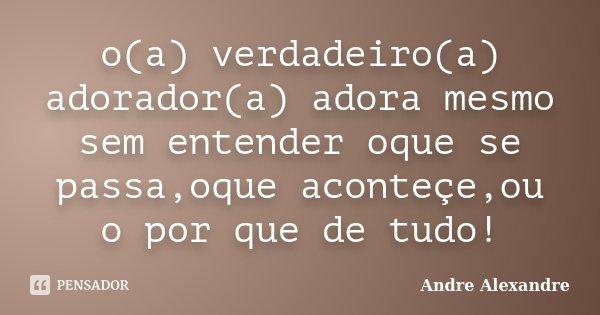 o(a) verdadeiro(a) adorador(a) adora mesmo sem entender oque se passa,oque aconteçe,ou o por que de tudo!... Frase de Andre Alexandre.