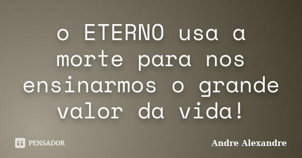 o ETERNO usa a morte para nos ensinarmos o grande valor da vida!... Frase de Andre Alexandre.