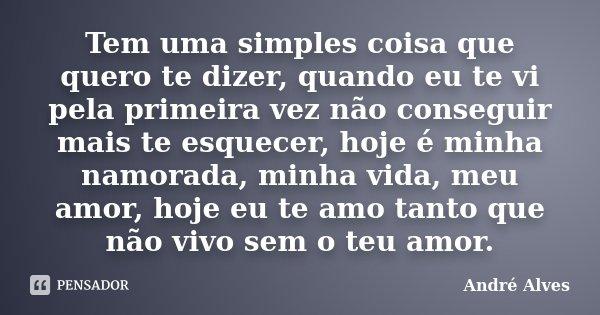 Tem uma simples coisa que quero te dizer, quando eu te vi pela primeira vez não conseguir mais te esquecer, hoje é minha namorada, minha vida, meu amor, hoje eu... Frase de André Alves.