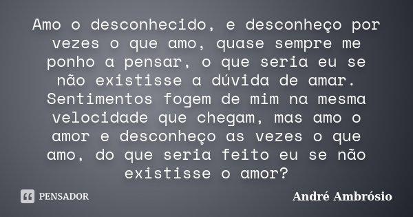 Amo o desconhecido, e desconheço por vezes o que amo, quase sempre me ponho a pensar, o que seria eu se não existisse a dúvida de amar. Sentimentos fogem de mim... Frase de André Ambrósio.