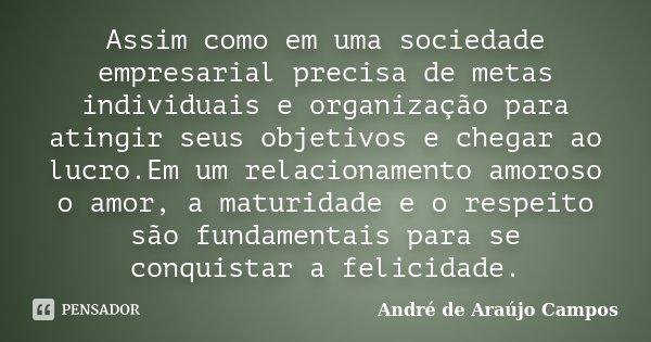 Assim como em uma sociedade empresarial precisa de metas individuais e organização para atingir seus objetivos e chegar ao lucro.Em um relacionamento amoroso o ... Frase de André de Araújo Campos.