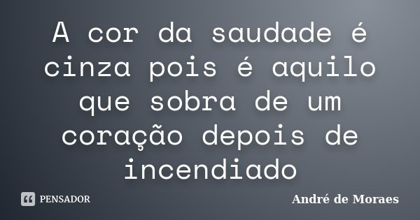 A cor da saudade é cinza pois é aquilo que sobra de um coração depois de incendiado... Frase de André de Moraes.