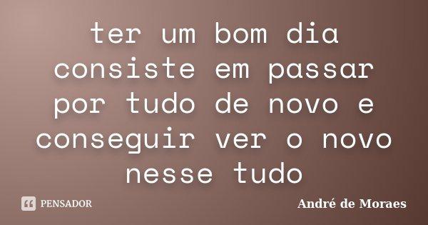 ter um bom dia consiste em passar por tudo de novo e conseguir ver o novo nesse tudo... Frase de André de Moraes.