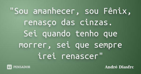 """""""Sou amanhecer, sou Fênix, renasço das cinzas. Sei quando tenho que morrer, sei que sempre irei renascer""""... Frase de André Diasfrc."""