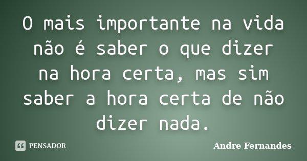 O mais importante na vida não é saber o que dizer na hora certa, mas sim saber a hora certa de não dizer nada.... Frase de Andre Fernandes.