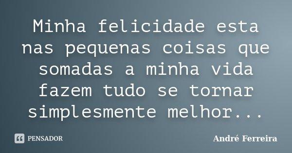 Minha felicidade esta nas pequenas coisas que somadas a minha vida fazem tudo se tornar simplesmente melhor...... Frase de Andre Ferreira.