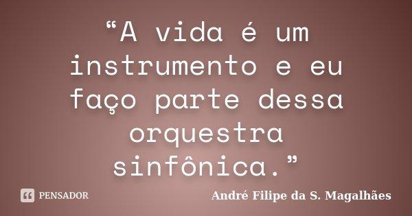 """""""A vida é um instrumento e eu faço parte dessa orquestra sinfônica.""""... Frase de André Filipe da S. Magalhães."""