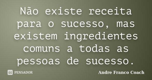 Não existe receita para o sucesso, mas existem ingredientes comuns a todas as pessoas de sucesso.... Frase de Andre Franco Coach.