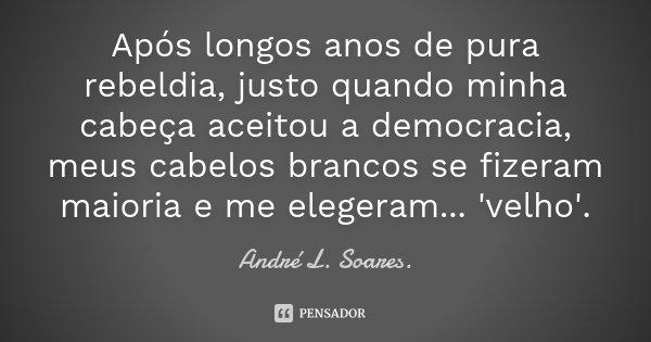 Após longos anos de pura rebeldia, justo quando minha cabeça aceitou a democracia, meus cabelos brancos se fizeram maioria e me elegeram... 'velho'.... Frase de André L. Soares..
