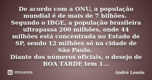 De Acordo Com A Onu A População André Lossio