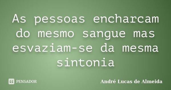 As pessoas encharcam do mesmo sangue mas esvaziam-se da mesma sintonia... Frase de André Lucas de Almeida.
