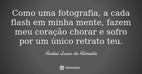 Como uma fotografia, a cada flash em minha mente, fazem meu coração chorar e sofro por um único retrato teu.... Frase de Andre Lucas de Almeida.