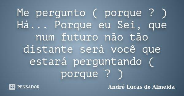 Me pergunto ( porque ? ) Há... Porque eu Sei, que num futuro não tão distante será você que estará perguntando ( porque ? )... Frase de André Lucas de Almeida.