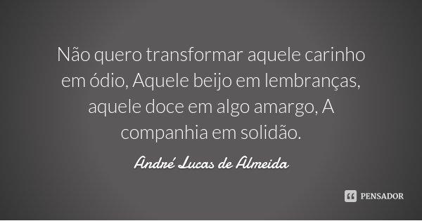 Não quero transformar aquele carinho em ódio, Aquele beijo em lembranças, aquele doce em algo amargo, A companhia em solidão.... Frase de André Lucas de Almeida.