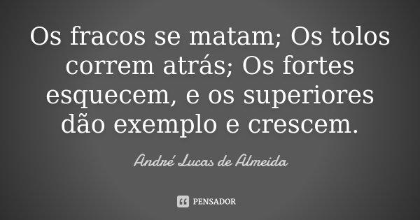Os fracos se matam; Os tolos correm atrás; Os fortes esquecem, e os superiores dão exemplo e crescem.... Frase de Andre Lucas de Almeida.