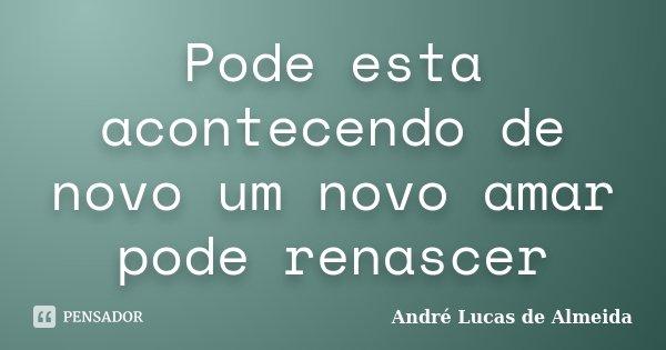 Pode esta acontecendo de novo um novo amar pode renascer... Frase de Andre Lucas de Almeida.