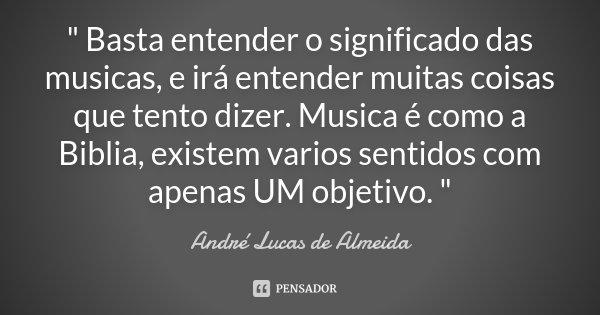 """"""" Basta entender o significado das musicas, e irá entender muitas coisas que tento dizer. Musica é como a Biblia, existem varios sentidos com apenas UM obj... Frase de André Lucas de Almeida."""