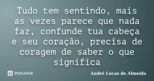Tudo tem sentindo, mais as vezes parece que nada faz, confunde tua cabeça e seu coração, precisa de coragem de saber o que significa... Frase de Andre Lucas de Almeida.