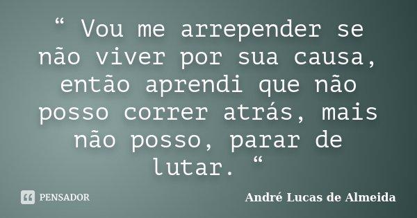 """"""" Vou me arrepender se não viver por sua causa, então aprendi que não posso correr atrás, mais não posso, parar de lutar. """"... Frase de Andre Lucas de Almeida."""
