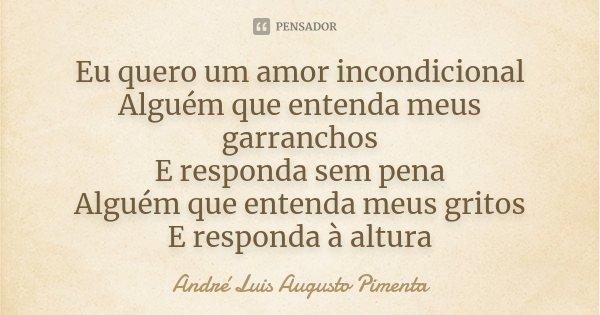 Eu quero um amor incondicional Alguém que entenda meus garranchos E responda sem pena Alguém que entenda meus gritos E responda à altura... Frase de André Luis Augusto Pimenta.