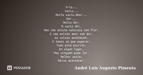 Frio... Vazio... Muito vazio.Amor... Dor... Muita dor. O vazio dói. Mas não existe natureza sem flor. E não existe amor sem dor. As coisas acontecem. E temos só... Frase de André Luis Augusto Pimenta.