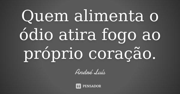 Quem alimenta o ódio atira fogo ao próprio coração.... Frase de André Luis.